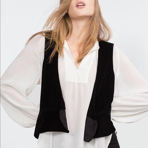 NWT Zara Black Velvet Waistcoat Vest